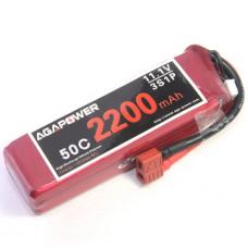 Аккумулятор AGA POWER Li-Po 2200mAh 11.1V 3S 50C Softcase 26x34x105мм T-Plug